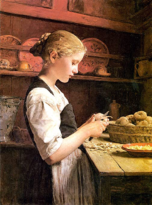 Albert Anker Girl Peeling Potatoes